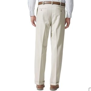 Dockers Cream Pleated Relaxed Fit Dress Pants